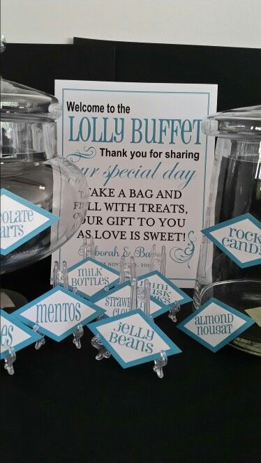 Lolly buffet sign and individual lolly tags weddings wedding party fun idea theme