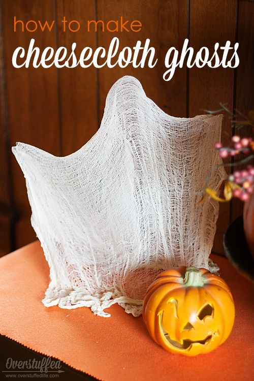 How to Make Cheesecloth Ghosts for Halloween. So easy, and you probably have all the supplies on hand already! #overstuffedlife