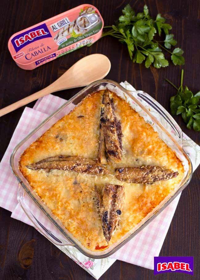 Arroz gratinado con Filetes de Caballa al Grill , Receta fácil de arroz gratinado con Filetes de Caballa al grill Isabel. Pastel de arroz y pescado, una cena rápida para toda la familia.