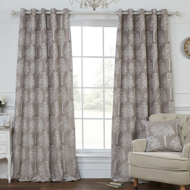 Elements Mocha & Natural Luxury Lined Eyelet Curtains (Pair)  - Julian Charles