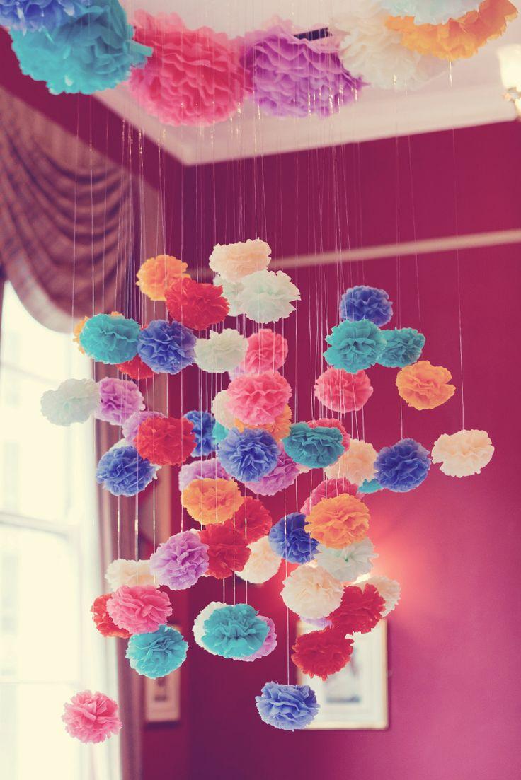 Rosely Pignataro: Decorando com pompons de papel de seda ou crepom                                                                                                                                                                                 Mais