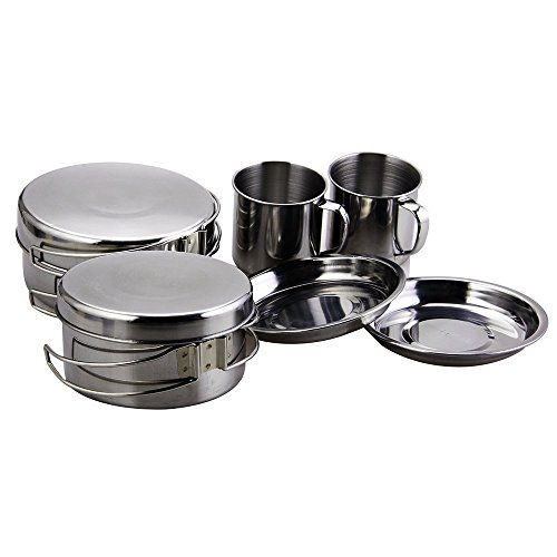 BeGrit Backpacking Camping Cookware Picnic Camp Cooking Cook Set for Hiking 8pcsset 410 Stainless Steel *** You can get additional details at the image link.