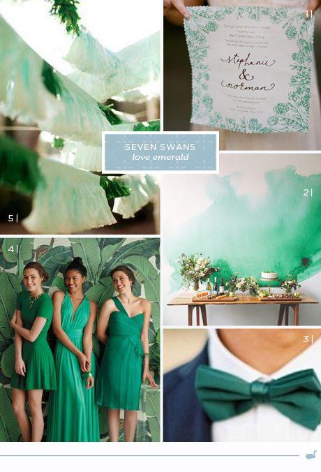 Swan Love - emerald | Seven Swans Wedding Stationery