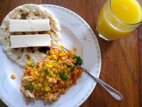 Scrambled Eggs with Tomato, Scallions and Corn
