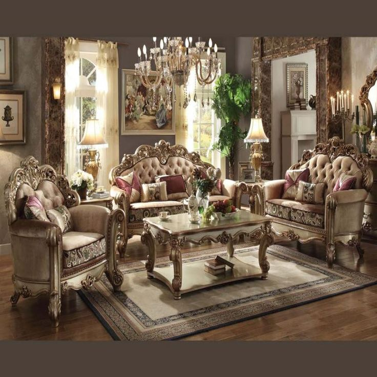 Furniture Charming And Elegant Cheap Living Room Sets: Acme Vendome Gold Collection Living Room Set