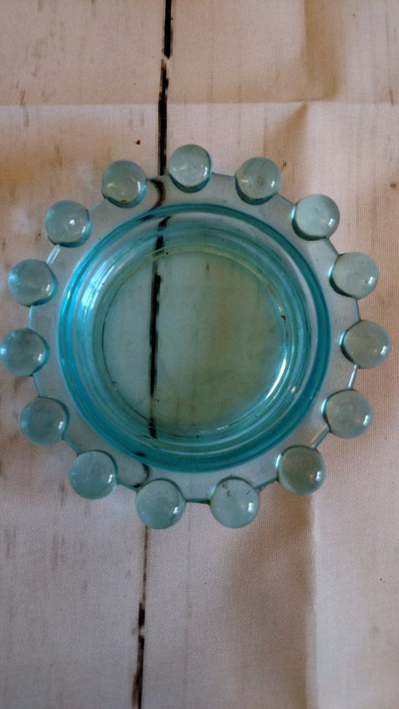 Small Candle Dish Blue Glass