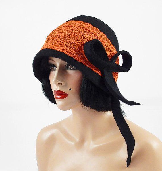 Felted Hat 20s hat Cloche hat Flapper Hat Black Hat RUSSIAN BEAUTY Art Hat Art deco hat Retro hats Felt