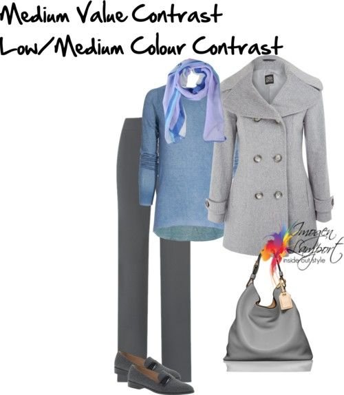 If you have light hair, light skin and blue eyes - medium value contrast and low or medium colour contrast is best for your outfits.  Light to medium neutrals plus a color or two is your outfit formula.