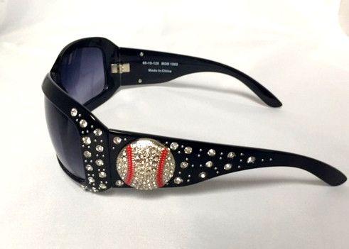 Cocomo Soul Black Rhinestone Baseball Sunglasses Cleaning Cloth & Case