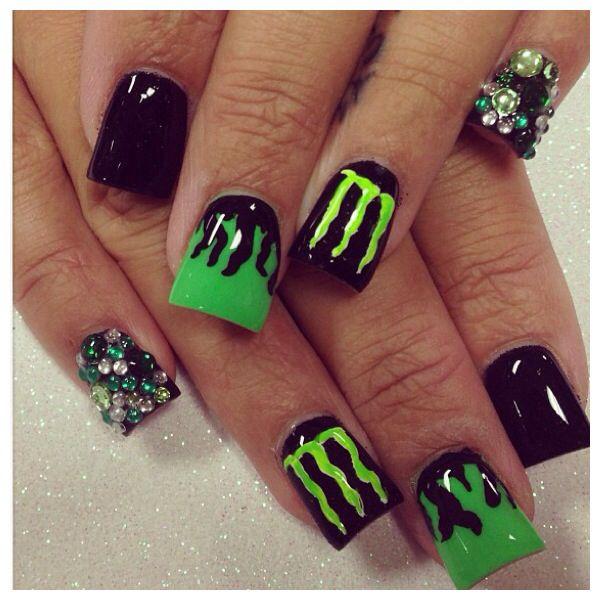 Monster drink nails #nailart #acrylicnails #glitternails