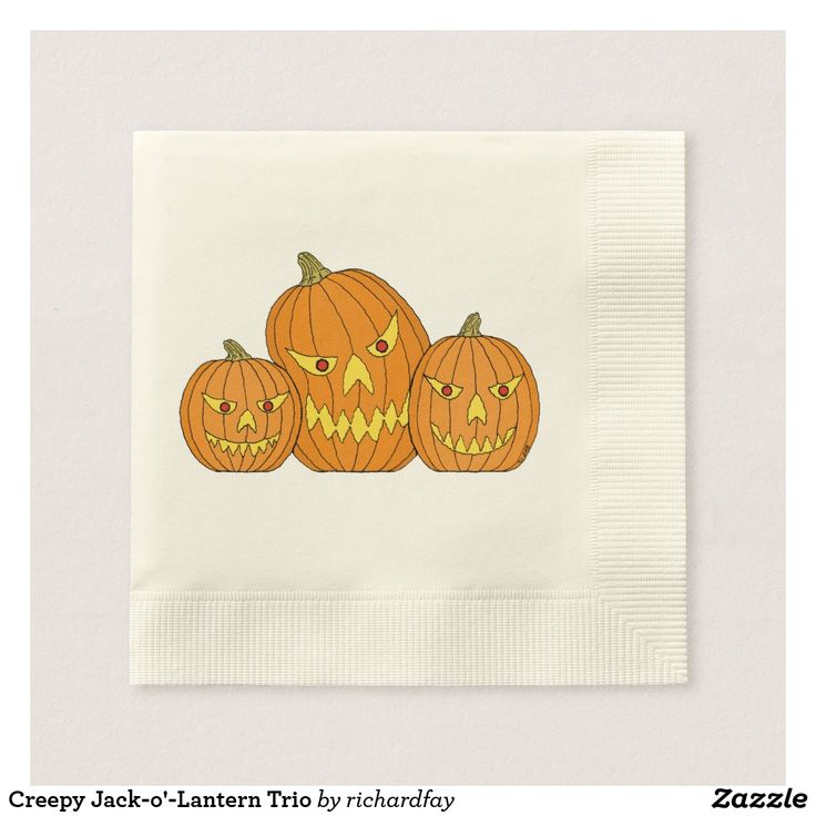 Creepy Jack-o'-Lantern Trio Napkin.  40% Off Paper Napkins. Party details that will steal the show. Promo Code: TRICKANDSAVE.  Offer is valid through September 27, 2017 11:59 PM PT.  #Zazzle #paper_napkin #napkin #Halloween_napkin #jack_o_lanterns #pumpkins