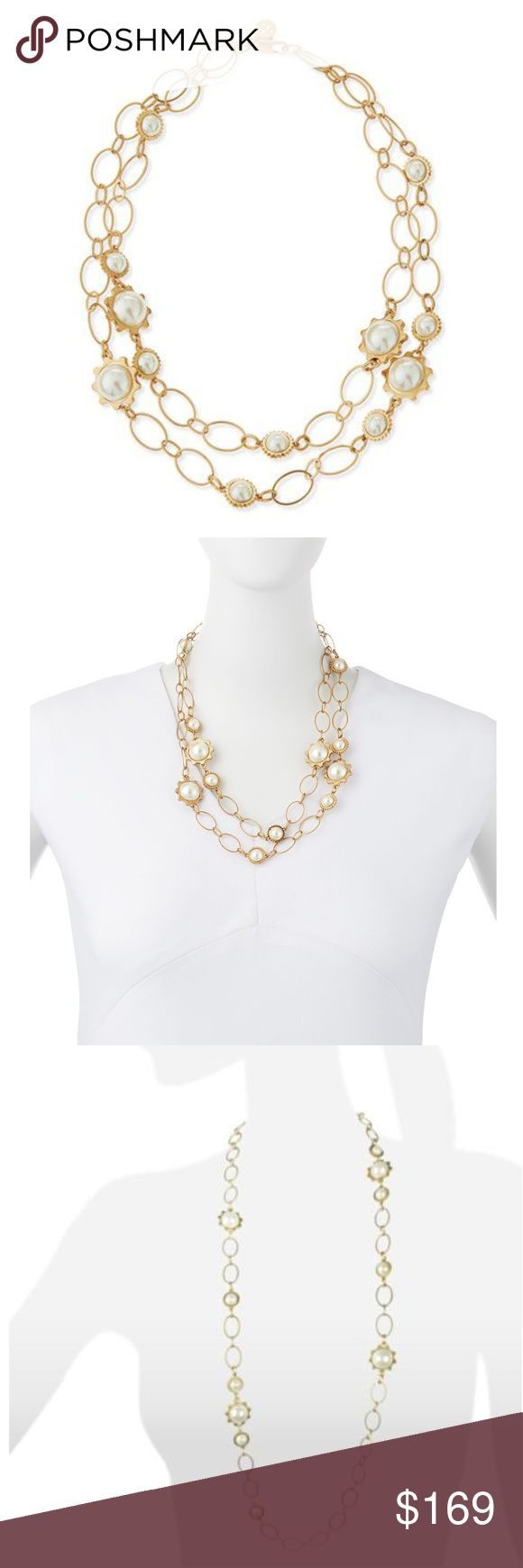 """Tory Burch Gear Pearl Convertible Station Necklace """"Creamy simulated pearls in an array of notched gear settings create a fun industrial look, spaced along a graceful 16k gold-plated chain that can be clasped in double-row style or slipped over the head to wear long and loose.""""   Simulated faux pearl. Glass.  16k yellow gold-plated brass with antiqued finish  Length, 41"""" (single strand) or  20.5"""" (double strand). Retail $250 RARE to find  NEW without tags. Tory Burch Jewelry Necklaces"""