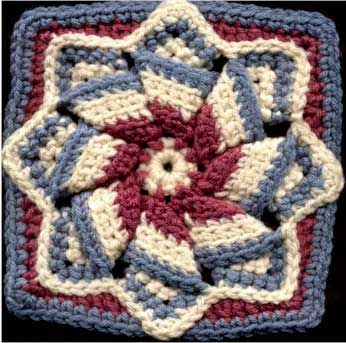 Elegant Crochet Page by Bonnie Pierce.   25 crochet squares; the one pictured here is my favorite.  I love this square! It's so fun to make!