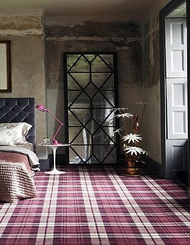 Love this pink tartan flooring.