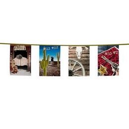 Vlaggenlijn recht Wild West -  Een plastic vlaggenlijn in western stijl. Lengte: 10 meter. | www.feestartikelen.nl