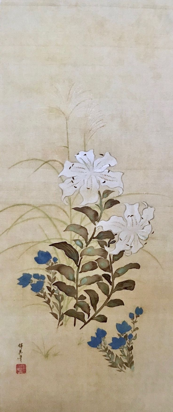 Flowers of Summer. Sakai Hoitsu. About 1810. One of a trio of Japanese hanging scrolls. Feinberg Collection.