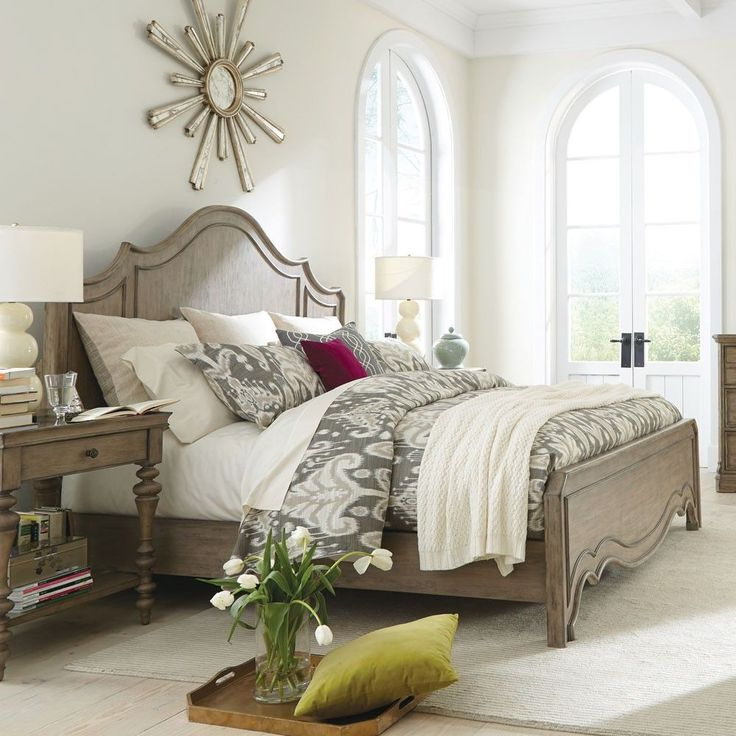 Corinne Wood Panel Bed in Sun-Drenched Acacia-King Headboard Footboard & Frame