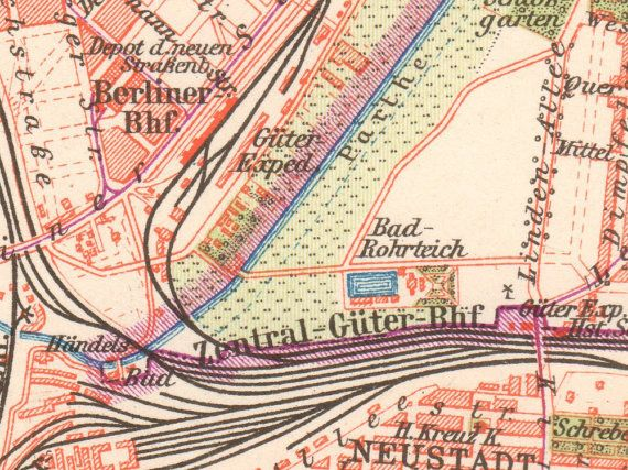 details from #Leipzig - #Antique City Map from 1897 || Antique Lithograph Print || German, Vintage Illustration, Old maps