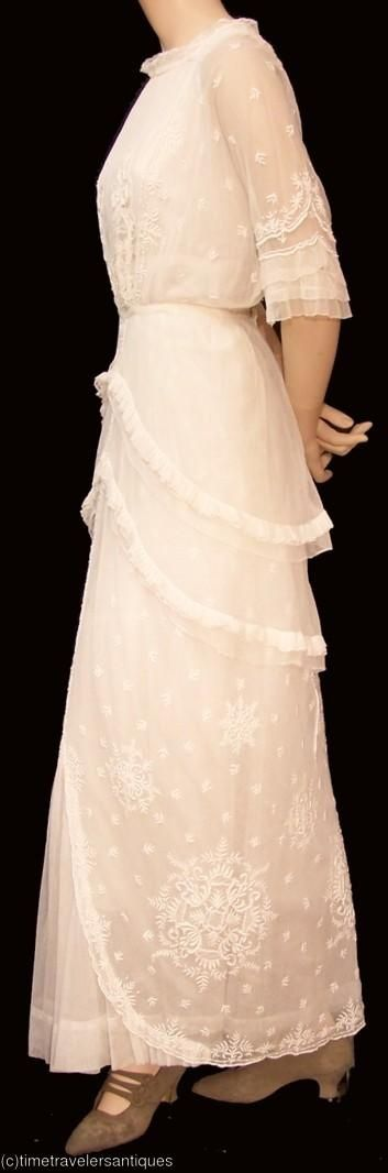 1915 Lingerie Gown with amazing embroidery and peplum detail