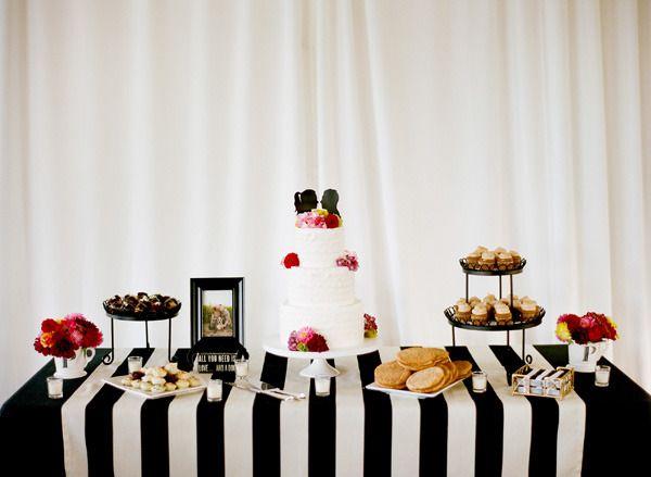 Really striking cake & dessert table!