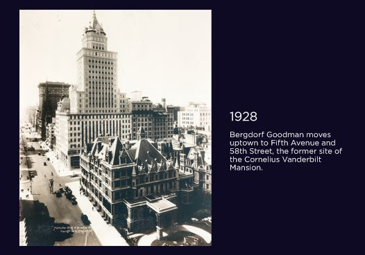 #BG111 1928: Bergdorf Goodman moves uptown to Fifth Avenue and 58th Street, the former site of the Cornelius Vanderbilt Mansion.