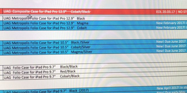 Leaked computer screenshot, Apple 10.5-inch iPad Pro May Come In June
