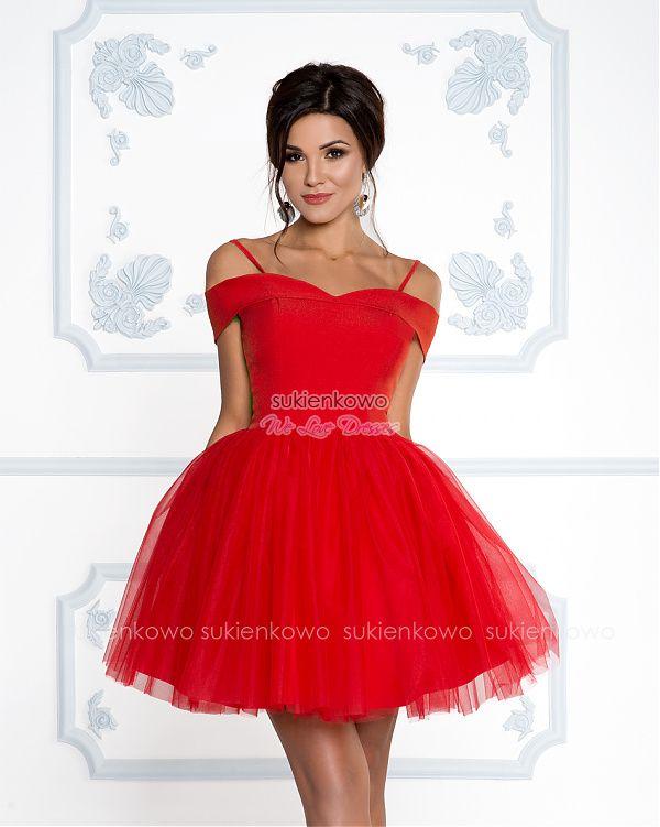 42f2fa90ea Sukienkowo.com - SCARLET - Rozkloszowana sukienka bez ramion z tiulem  soczysto czerwona