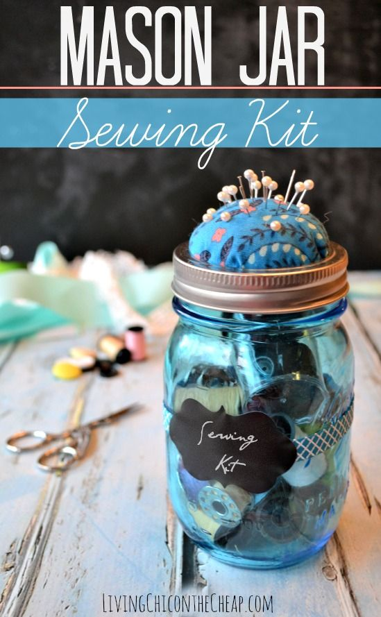 **Make Your Own Mason Jar Sewing Kit** This is a super easy DIY. I spent about 15 minutes on this project and I love the way it turned out. Very cool and vintage-inspired. #DIY #Sewing #MasonJar