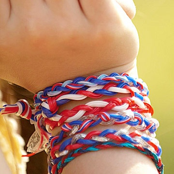 Braided Bracelets      Let kids practice their braiding skills by making friendship bracelets. Teamwork is required: Tie one end of three plastic craft cords together. Have one child hold the tied end while another child braids. Knot the opposite ends at the desired length.