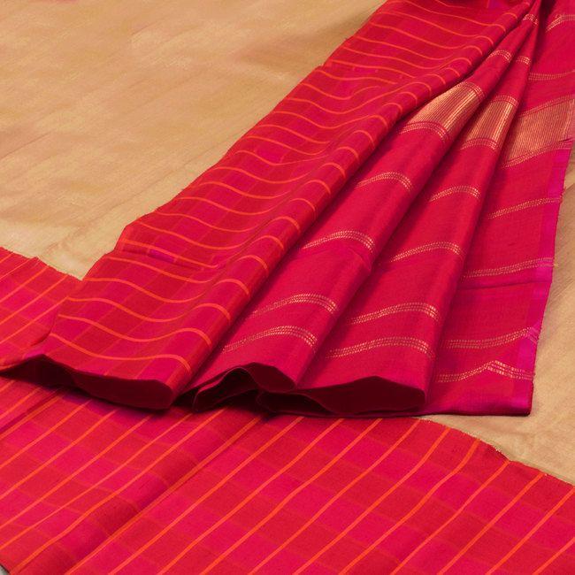 Sri Sagunthalai Silks Handwoven Korvai Kanchipuram Silk Saree with Single Side Border 10002152 - AVISHYA.COM