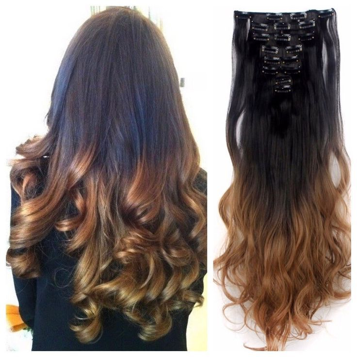 Dark Brown To Light Brown Ombre Hair Extensions Curly Hair 24