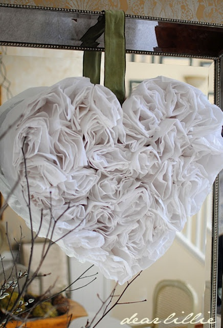 Heart ~ made with white tissue paper.