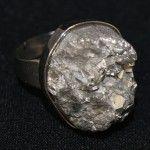 Natural Stone Statement Ring – Silver metallic rock R160