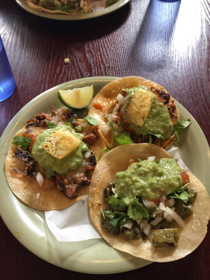Nopales and Pork Adobada from Tacos Chukis Seattle