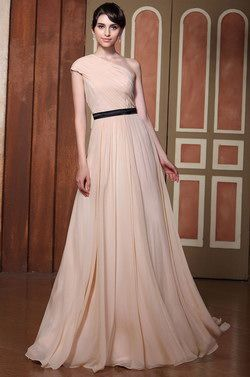 Pleated One Shoulder  Evening Gown Bridesmaid Dress (02131101) - USD 126.73