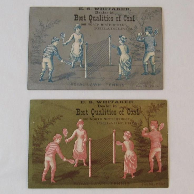 2 Victorian Trade Cards Royal Lawn Tennis Badminton Coal Dealer