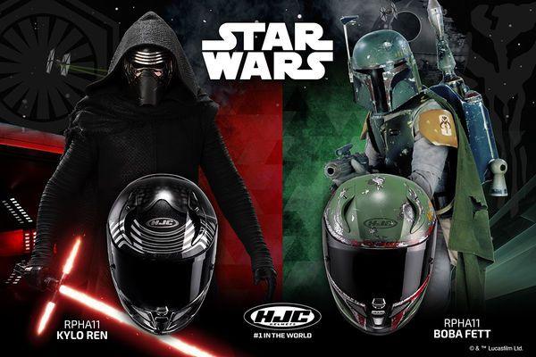 Kylo Ren or Boba Fett motorcycle helmets from HJC
