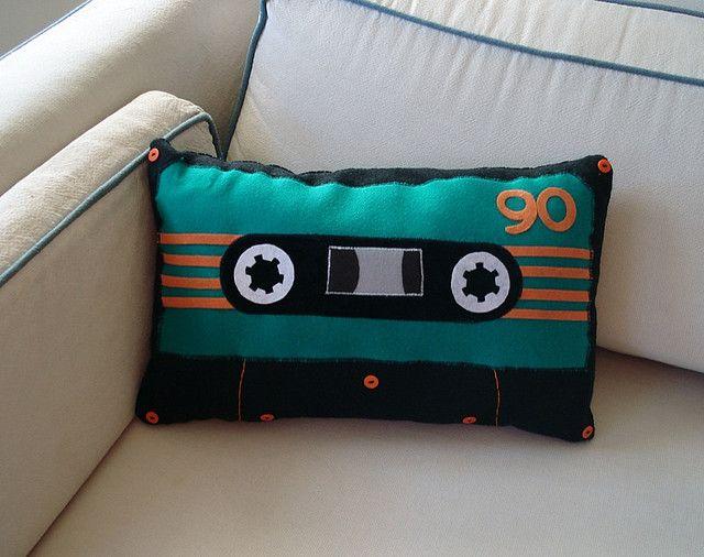 Cassette pillow, reel stylish.