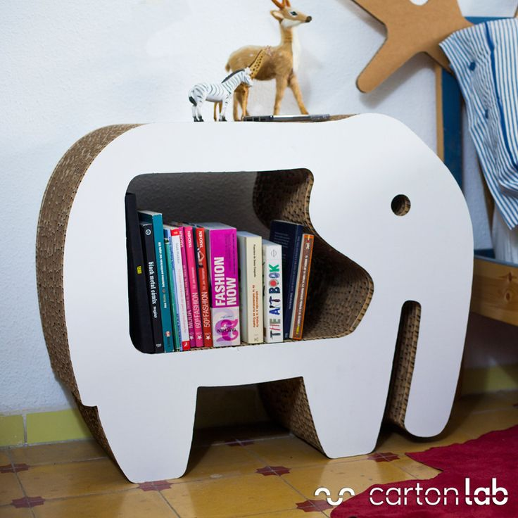 Elephant shaped table made of cardboard designed by Cartonlab  | Mesita de noche de cartón con forma de elefante diseñada por Cartonlab |  www.cartonlab.com