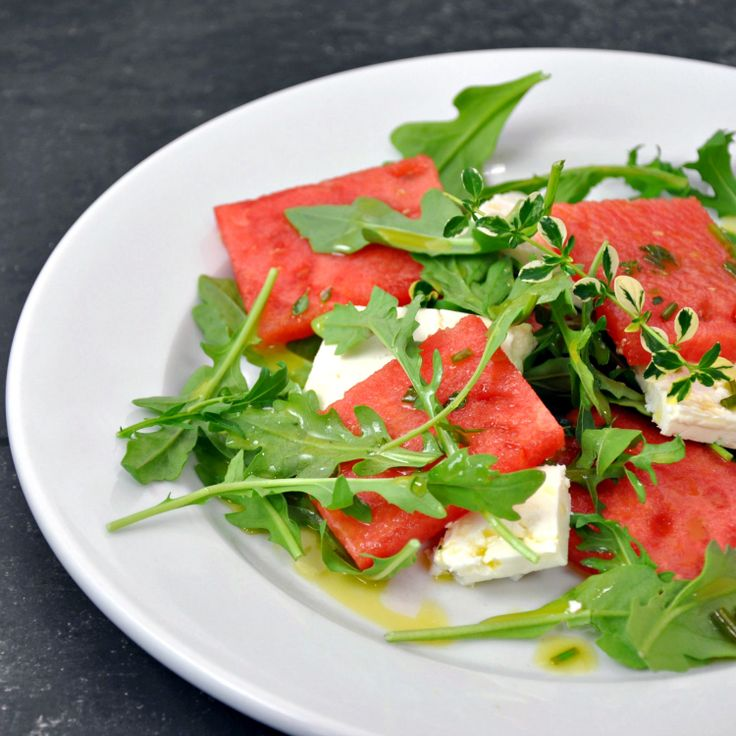 Watermelon and Arugula Salad with Feta and Chile Vinaigrette