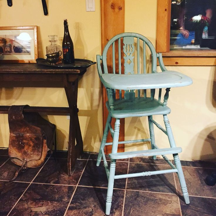 Vintage high chair in duck egg blue by Annie Sloan chalk paint