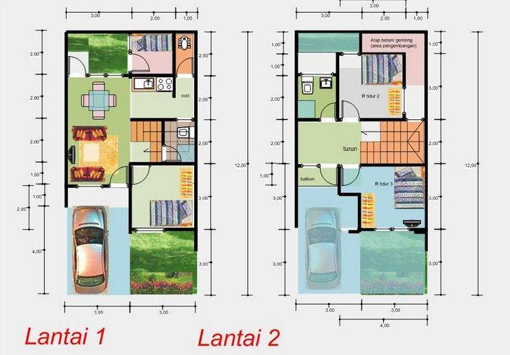 Denah Rumah Minimalis Sederhana 2 Lantai 6x12