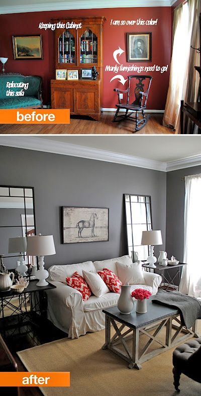 Small Living Room Makeovers • Tips, Ideas and Before and Afters. Including, from 'the graphics fairy', this gorgeous living room makeover.