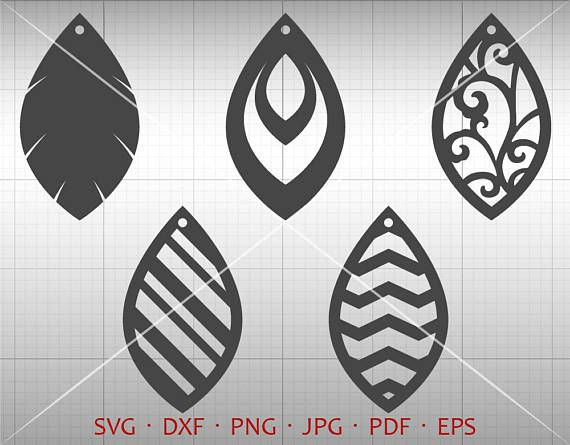Leaf Tear Drop SVG Pendant SVG Vector DXF Leather Earring