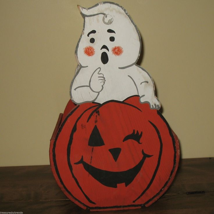 vintage halloween decoration hand painted basket crate pumpkin ghost folk art