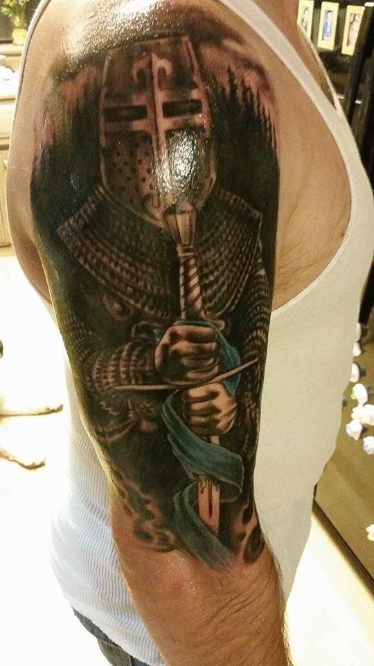 Hottie Hubby's new tattoo. St Michael, the Patron Saint of Law Enforcement ❤ LEO TATTOO. COP TATTOO