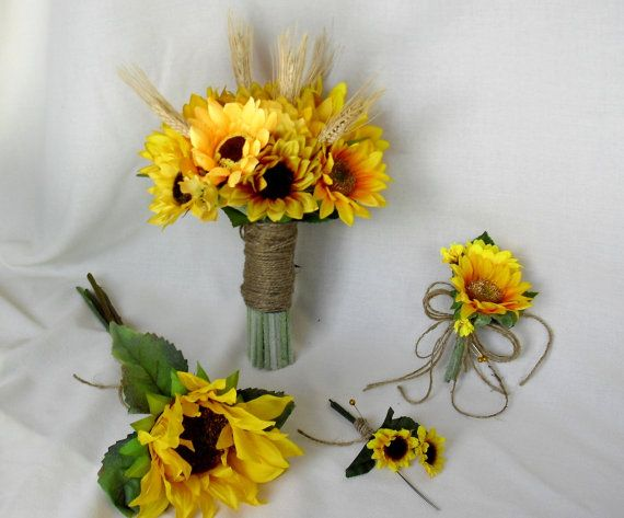 Wedding Flowers Sunflower Bridal bouquet Package corsages boutonnieres Barn Country John Deere silk flower accessories custom for Brittany
