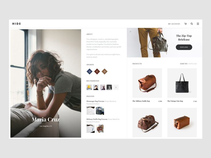 Hi everyone,  Working on a new project called Hide, its only for bags. This is a profile page of a bag designer(photo credits to the respective owners)  Let me know what you guys think about this s...