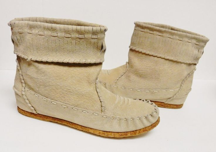 NINA Vintage Western Moccasin Ankle Boots Tribal Pull On Tan Women's Size 10 M #Nina #AnkleBoots #Alloccasion