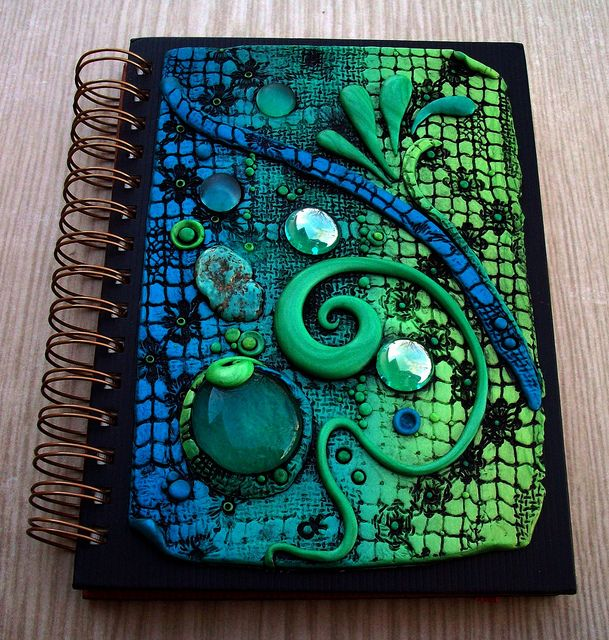 Another incredibly colored Custom Journal Cover in polymer clay by Chris Kapono, aka MandarinMoon, via Flickr